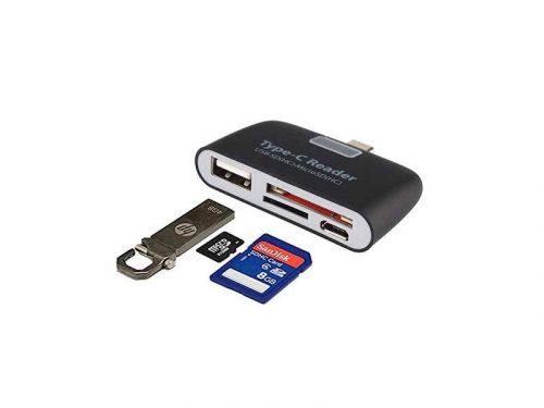 تبدیل تایپ سی به رم ریدر و هاب - Type C Card Reder & USB
