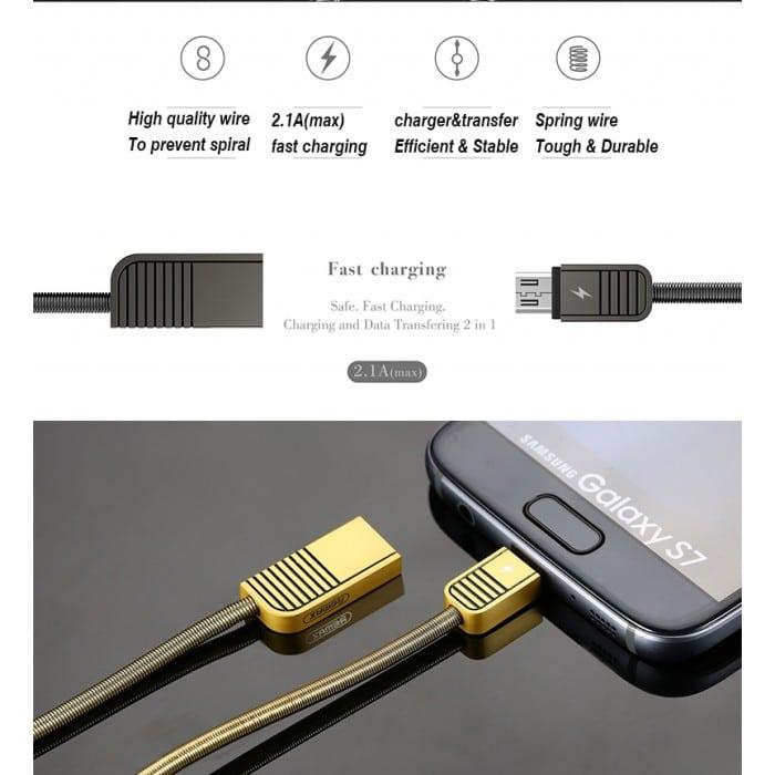کابل شارژ ریمکس RC088 | کابل ریمکس اندروید | کابل شارژ ریمکس اندروید |تبدیل usb به mini usb ریمکس |کابل شارژ اندروید فلزی |