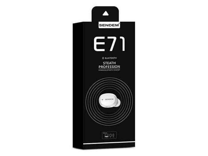 خرید، فروش و قیمت هندزفری بلوتوث سند ای ام مدل e71 یا هندزفری sendem مدل e71 یک هندزفری بلوتوث با کیفیت می باشد که در بازار هندزفری بلوتوث sendem e71 است.